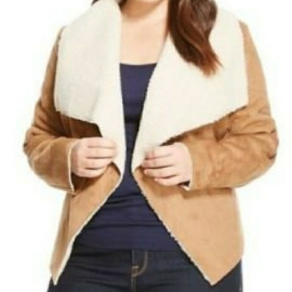 8768d7ee6ff Ava   Viv Jackets   Blazers - Ava   Viv Sherpa Lined Suede Jacket Plus Size